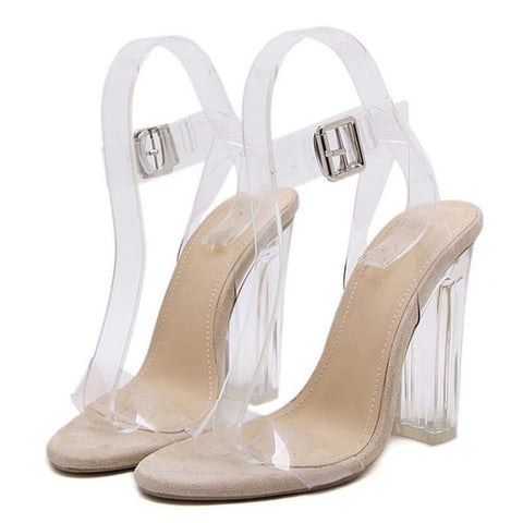 Gladiator Women Platform High Heels PVC Clear Crystal Classic Buckle Strap