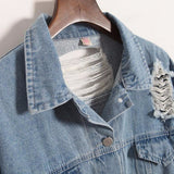 Retro Washed Frayed Ripped Denim Coat