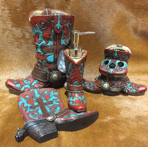 Red and Turquoise Boot Bathroom Decor