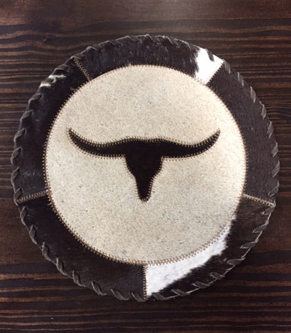 Longhorn Round Cowhide Placemat