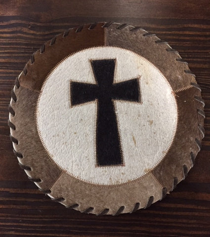 Cross Round Cowhide Placemat