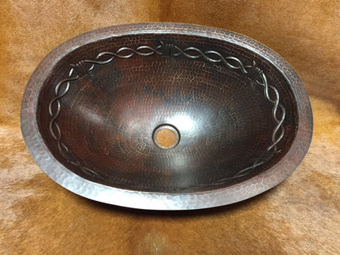 Oval Copper Barbwire Sink