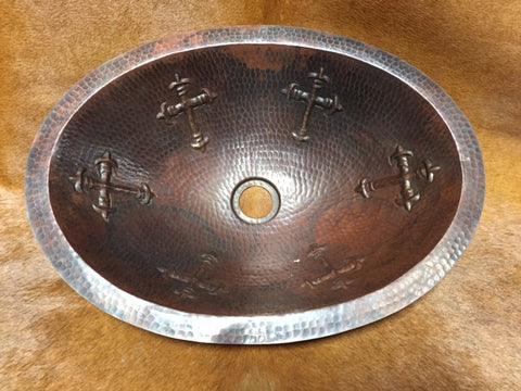 Oval Copper Cross Sink