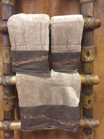 Three Piece Barbwire Bathroom Towel Set