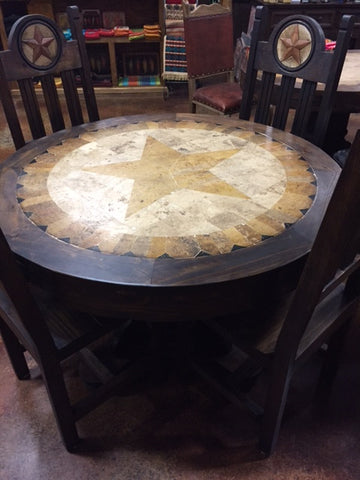 Round Stone Top Dinning Room Set