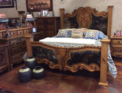 Hand Carved Billboard Bedroom Set
