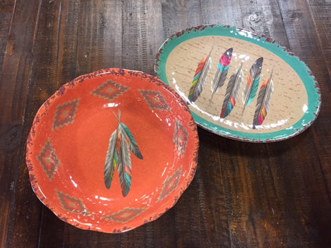 Feather Platter & Bowl