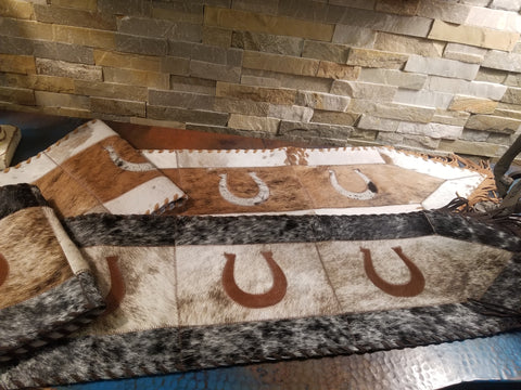 Horse Shoe Cowhide Table Runners