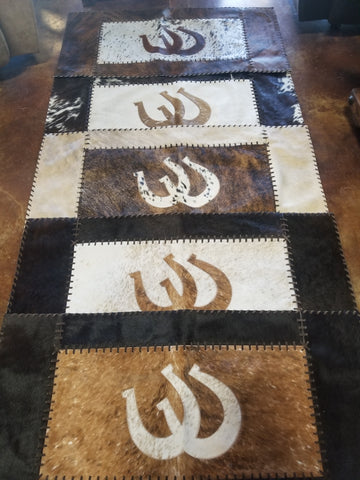 Cowhide Throw Rug Horseshoe