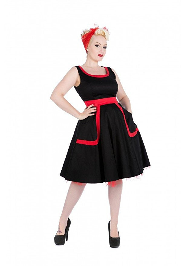 H & R London Dress Pinup Pockets Red Tulle Swoop Neck 9425
