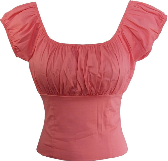 Light Pink Fitted Peasant top - Cool Hot Fashions