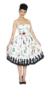 Bernie Dexter Paris Dress In Rockabilly Idol Print Retro Inspired