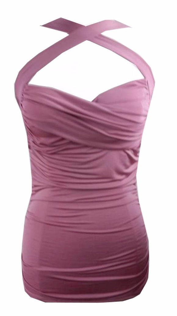 Annette Zilverberg USA Criss-Cross Dusty Rose Pink Ruched Halter Top Pinup Retro 50''s Rockabilly