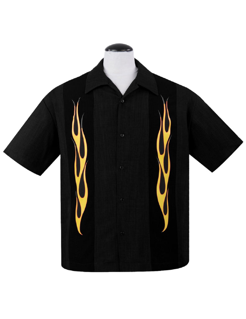 Steady Men''s Flame N Hot Button Up In Black Yellow Orange Bowling Shirt Rat Rod Retro