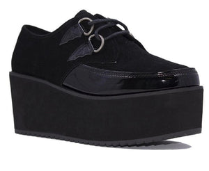 Y.R.U. Strangecvlt Bela Bat-Wing Black Suede Platform Shoes