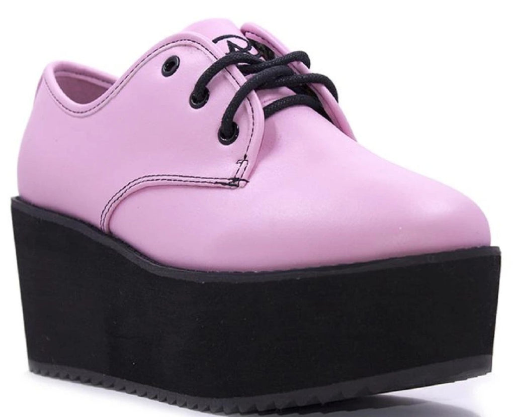 "Strangecvlt Stomp Baby Pink EVA 3"" Platform Lace up Shoes Rave Punk Goth Vegan"