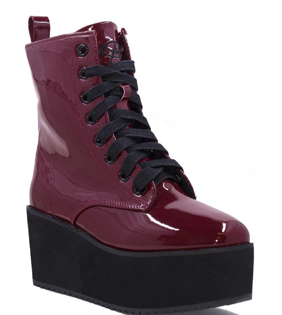 "Strangecvlt Stomp Hi Oxblood BLOOD RED Patent leather 3"" Platform Combat Boots Burgundy"