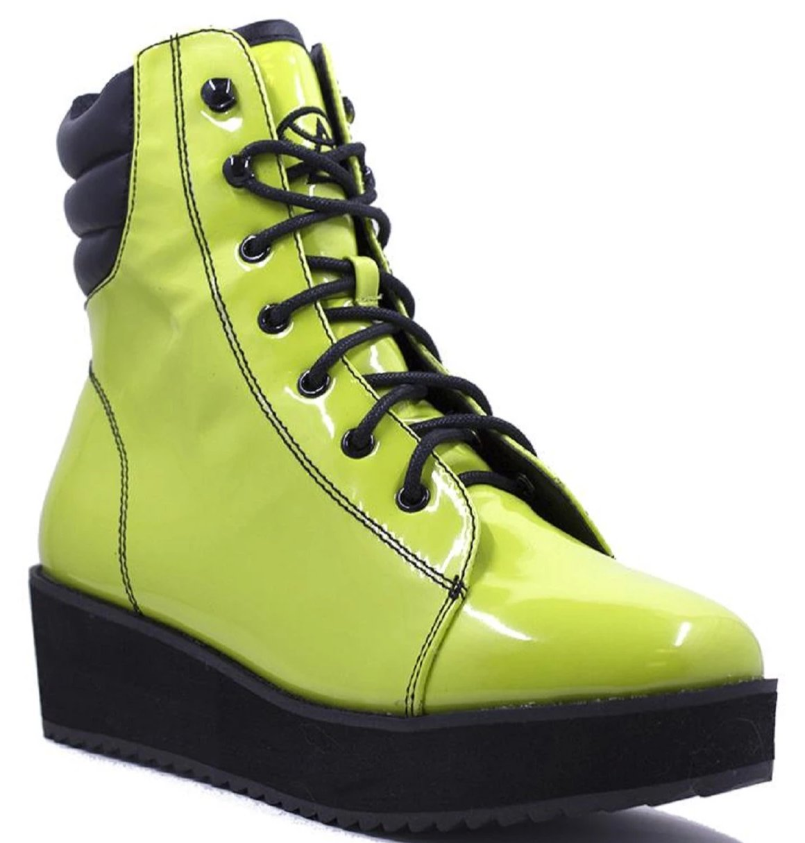 Strangecvlt Y.R.U Darby Monster Lime Green Patent Leather Fashion Combat Boots
