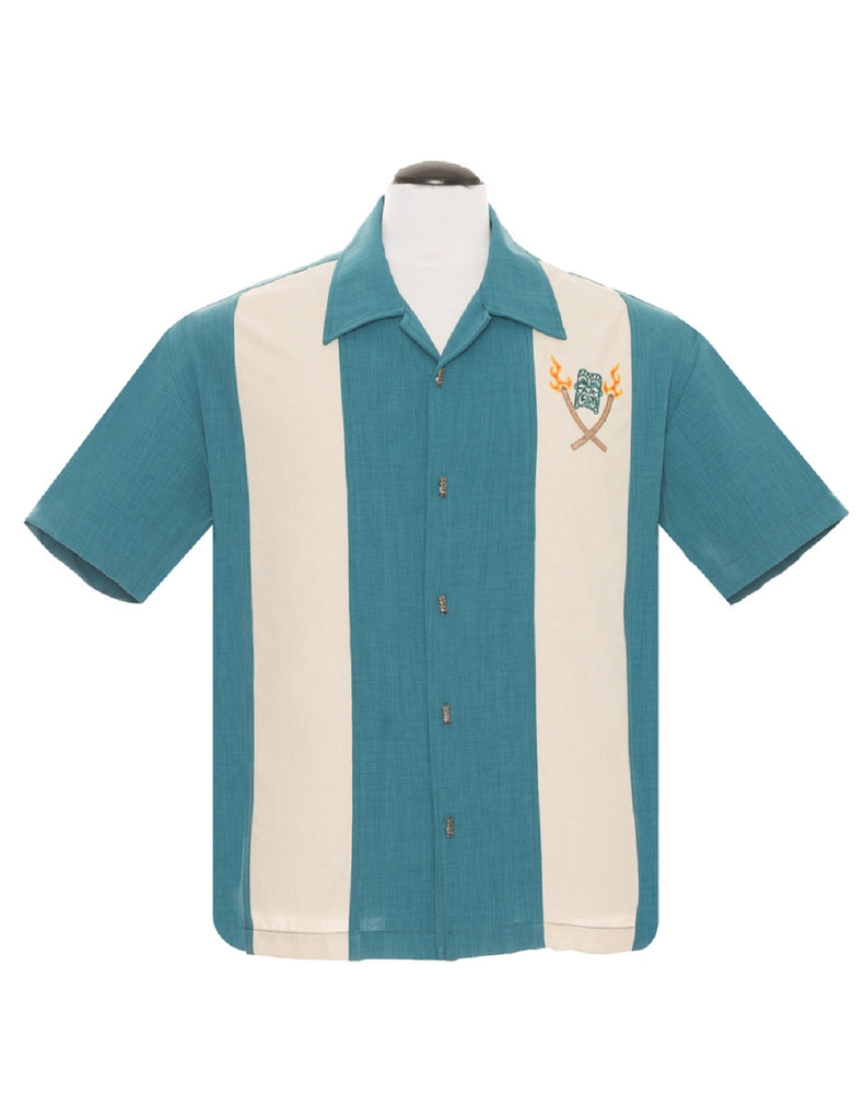 Steady Tropical Tiki Torches Totem in Teal Men's Untucked Bowling Style Shirt