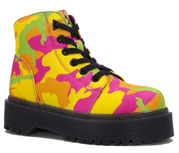 Y.R.U. SLAYR NEON CAMO Combat Boot Pastel Color Street Wear