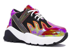 "YRU Red Flame Iridescent Holograph 3"" Platform Sneakers Shoes Punk Rave Anime Womens"