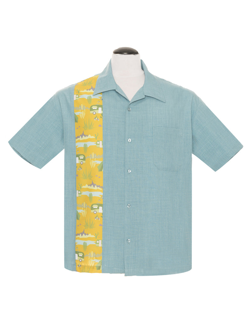 Steady Trail Blazer Sea Foam Green Untucked Bowling Style Shirt Camping Art