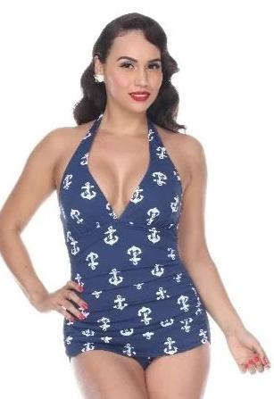 Bettie Page Blue Anchor Halter Top Sheath Swimsuit One Piece Nautical Sailor Girl pinup 50's