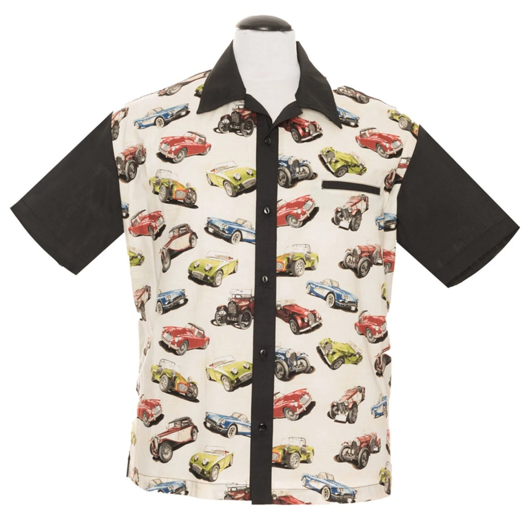 Steady Classic Bowling Shirt Hot Rod Roadster Print Panels Vintage Retro Inspired