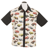 Steady Classic Bowling Shirt Hot Rod Roadster Print Panels Vintage Retro Inspired - Cool Hot Fashions
