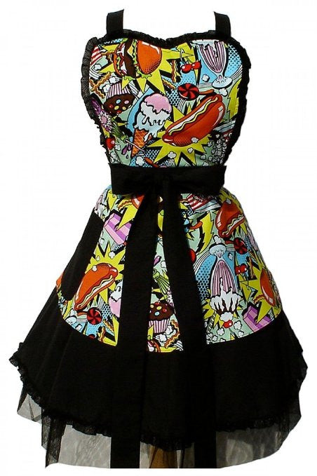 Hemet Sweet Snacks 50s Rockabilly Dress Apron - Cool Hot Fashions