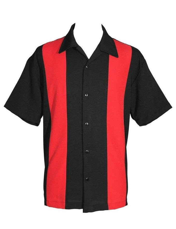Steady Clothing Double Panel Poplin Black & RED Panel Bowling Lounge Shirt