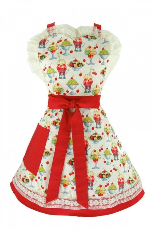 Hemet Vintage Sundae's and Cherries 2 Tier Apron Malt shop - Cool Hot Fashions