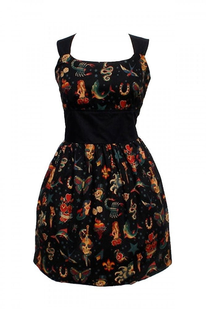 Black Old School Tattoo Print Dress by Hemet