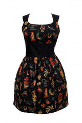 Black Old School Tattoo Print Dress by Hemet - Cool Hot Fashions