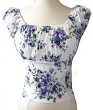 Purple Rose Floral Fitted Smock Peasant Top - Cool Hot Fashions