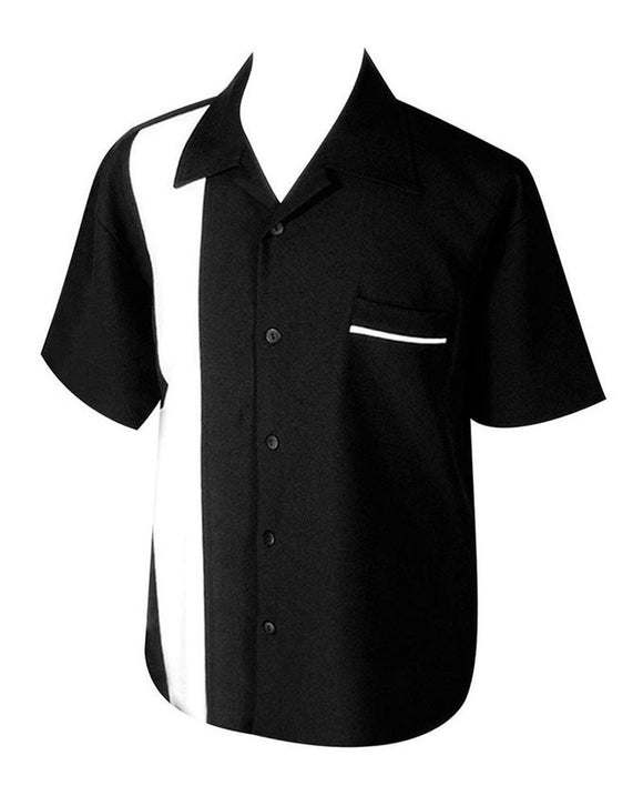 Steady Clothing Black & White Bowling Lounge Shirt - Cool Hot Fashions