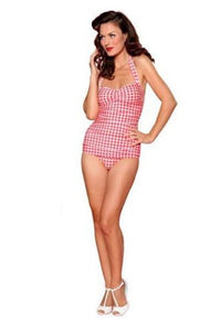 Esther Williams Pinup Swim Suit One Piece Vintage Style 1950's 50's Gingham RED - Cool Hot Fashions