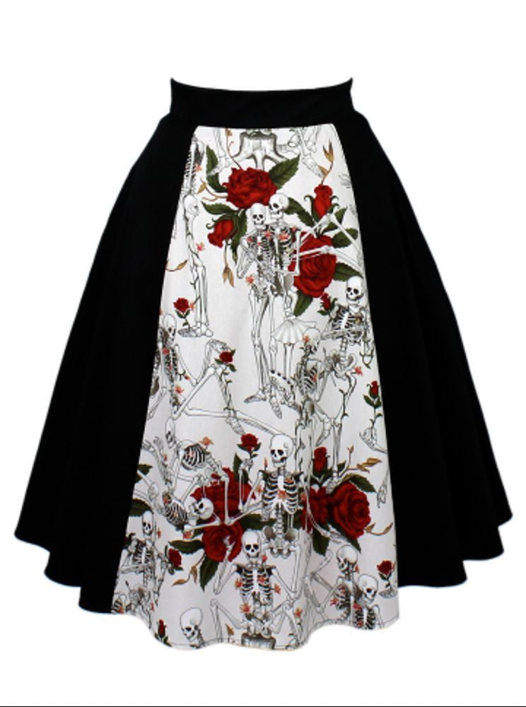 Hemet Skulls and Roses Full Circle Aline Skirt