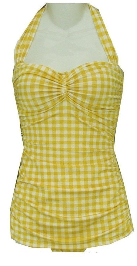 Esther Williams Yellow & White Plaid Gingham one Piece Swim Suit Plus Size 24
