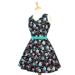 Hemet Womens Retro Cat Day of the Dead Skater Dress - Cool Hot Fashions