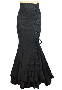 Jacquard Fishtail Long  Black Corset Skirt - Cool Hot Fashions