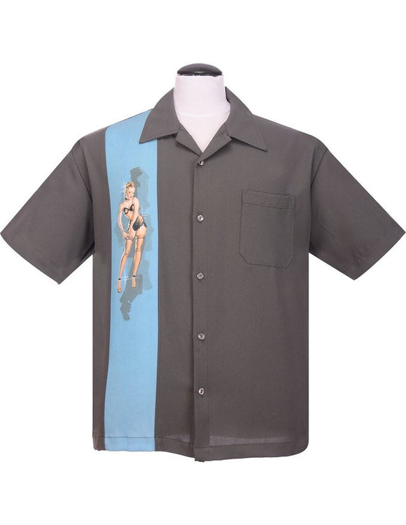 Steady Pinup Grey Girl Bowling Camp Lounge Shirt