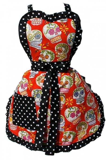Hemet Glittery Sugar Skulls Apron - Cool Hot Fashions