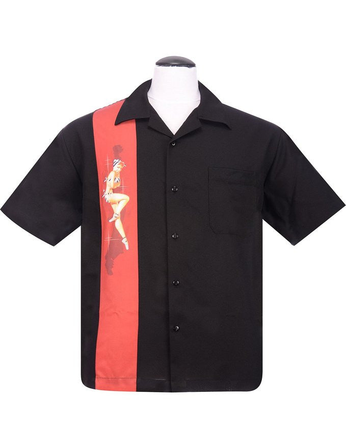 Rock Steady Black Pinup Girl Bowling Lounge Shirt