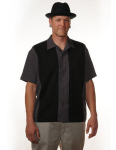 Poplin Mid Panel Grey and Black Bowling Shirt Men''s - Cool Hot Fashions