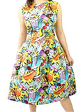 Hemet Popart Pleated Dress - Cool Hot Fashions