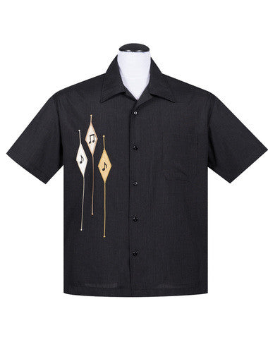 Steady Diamond Note Button Up in Black Men''s Shirt Retro Inspired - Cool Hot Fashions