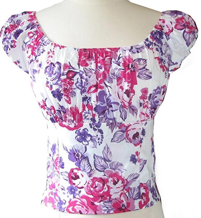 Pink & Purple Floral Fitted Smock Peasant Top - Cool Hot Fashions