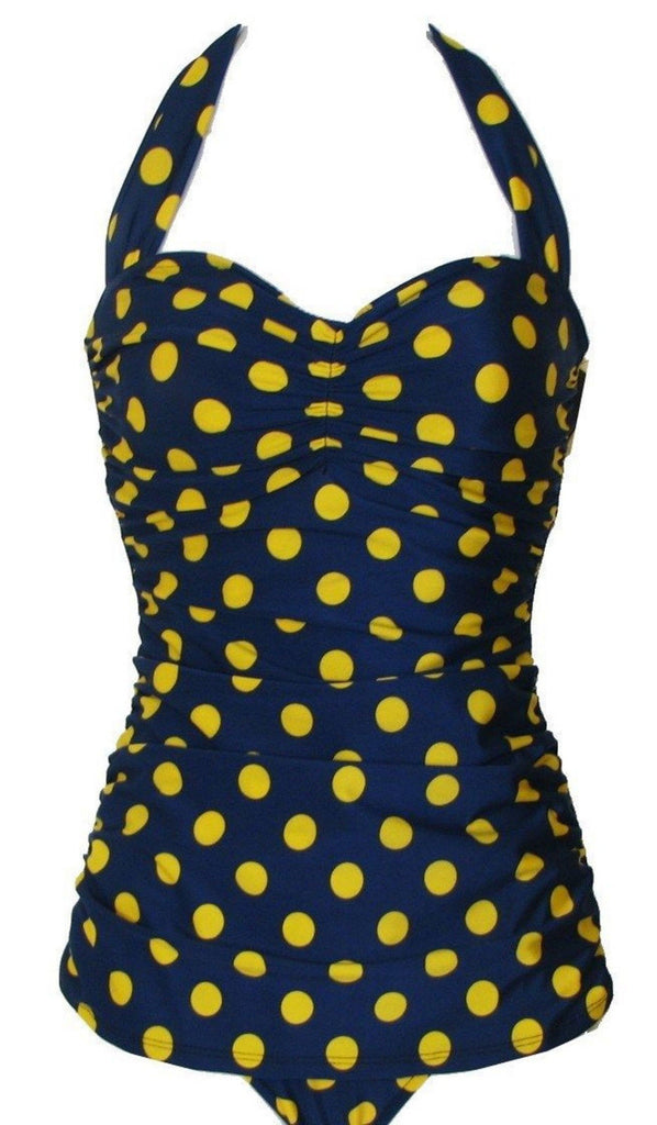 Esther Williams Sheath Dark Blue Yellow Polka Dotted Dot Swimsuit Sweetheart Bust