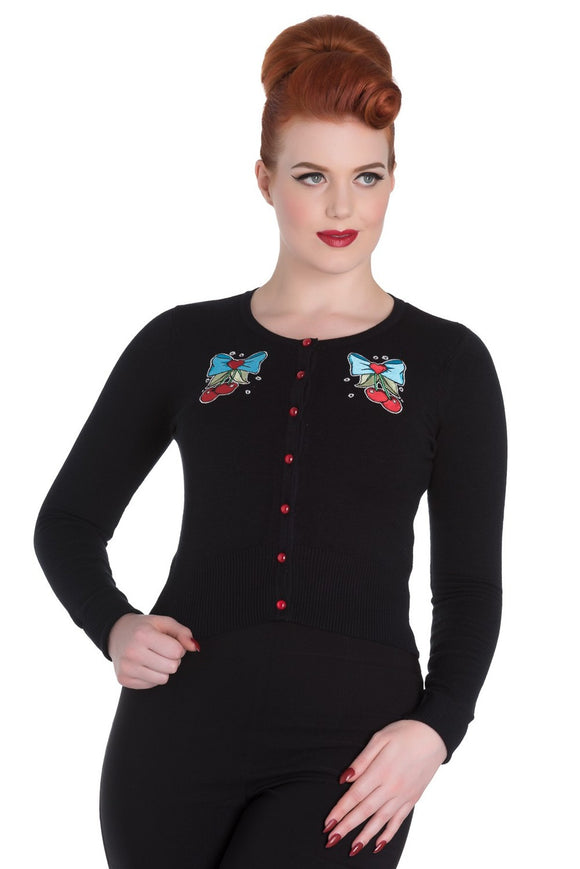 Hell Bunny ANNA CARDIGAN Love Cherry Bow Top Retro Inspired - Cool Hot Fashions
